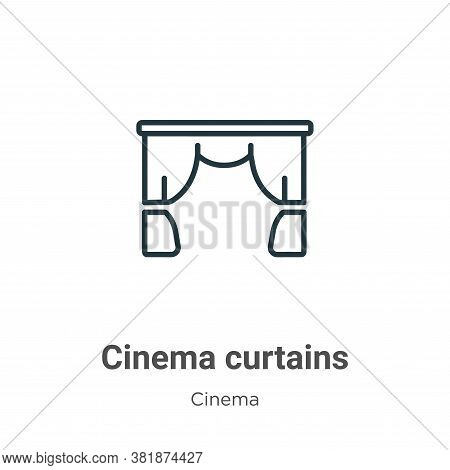 Cinema curtains icon isolated on white background from cinema collection. Cinema curtains icon trend