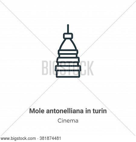Mole antonelliana in turin icon isolated on white background from cinema collection. Mole antonellia