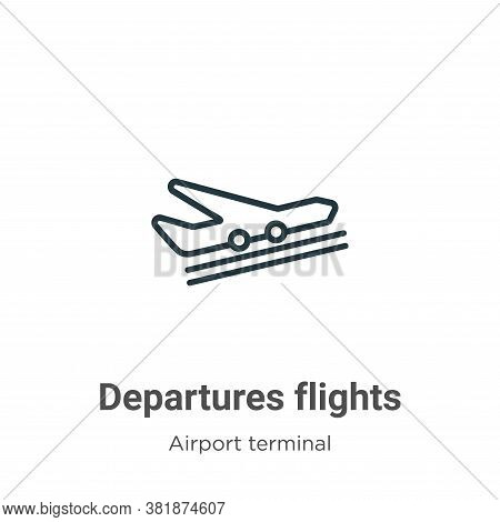 Departures flights icon isolated on white background from airport terminal collection. Departures fl
