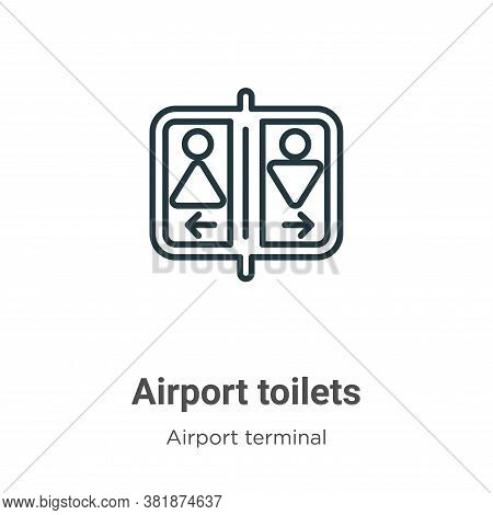 Airport toilets icon isolated on white background from airport terminal collection. Airport toilets