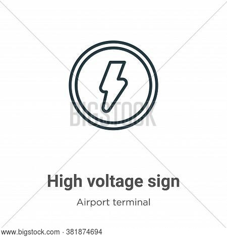 High voltage sign icon isolated on white background from airport terminal collection. High voltage s