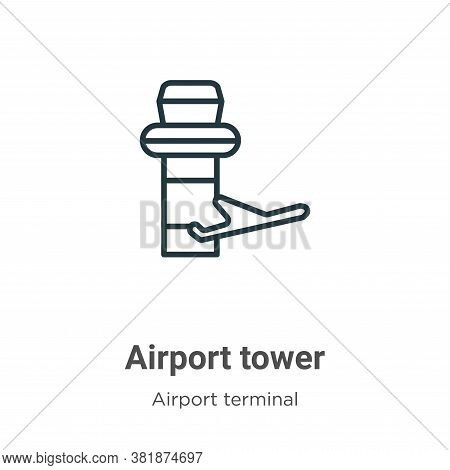 Airport tower icon isolated on white background from airport terminal collection. Airport tower icon