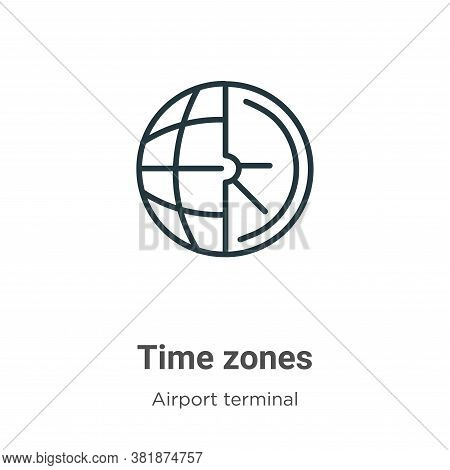 Time zones icon isolated on white background from airport terminal collection. Time zones icon trend