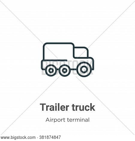 Trailer truck icon isolated on white background from airport terminal collection. Trailer truck icon