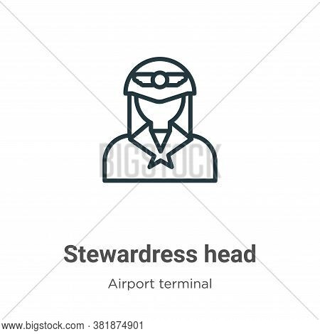 Stewardress head icon isolated on white background from airport terminal collection. Stewardress hea