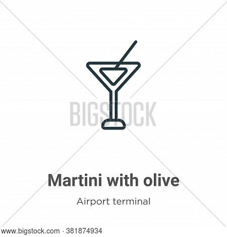 Martini with olive icon isolated on white background from airport terminal collection. Martini with