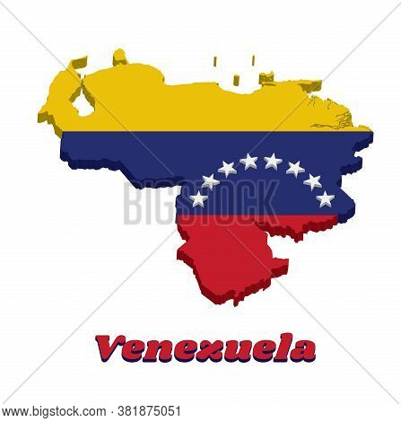3d Map Outline Of Venezuela, A Horizontal Tricolor Of Yellow Blue And Red With An Arc Of Eight White