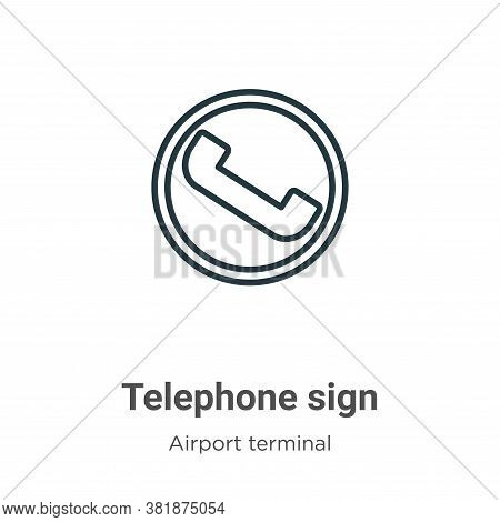 Telephone sign icon isolated on white background from airport terminal collection. Telephone sign ic