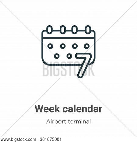 Week calendar icon isolated on white background from airport terminal collection. Week calendar icon