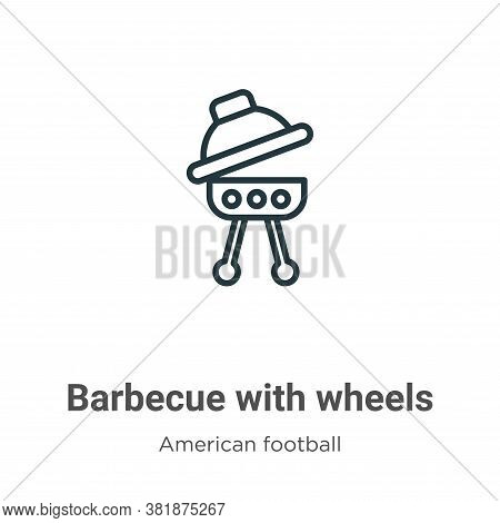 Barbecue with wheels icon isolated on white background from american football collection. Barbecue w