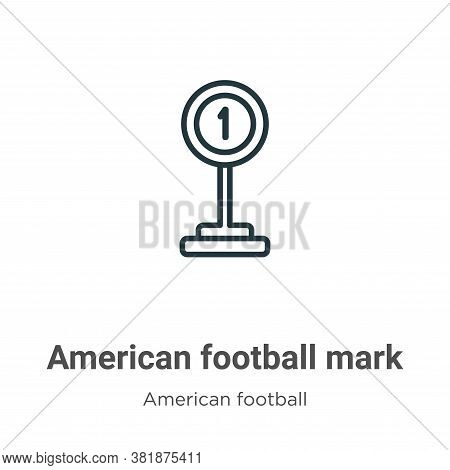 American football mark icon isolated on white background from american football collection. American