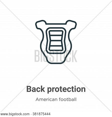 Back protection icon isolated on white background from american football collection. Back protection
