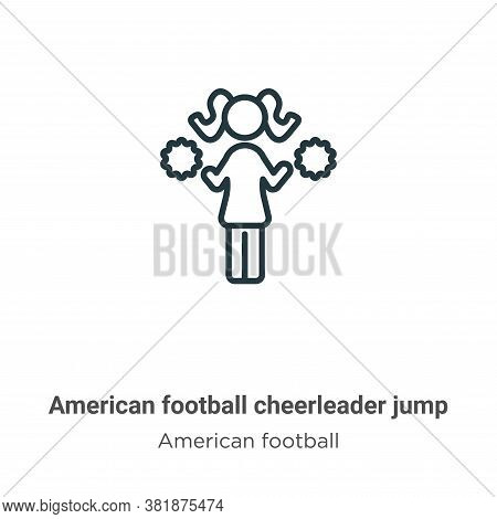 American football cheerleader jump icon isolated on white background from american football collecti