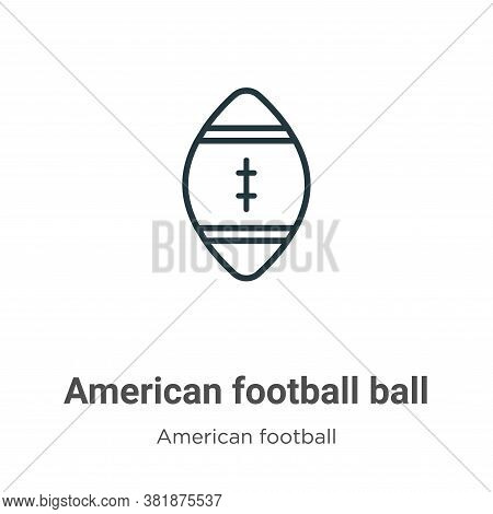 American football ball icon isolated on white background from american football collection. American