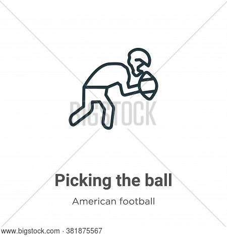 Picking the ball icon isolated on white background from american football collection. Picking the ba