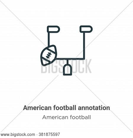 American football annotation icon isolated on white background from american football collection. Am