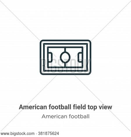 American football field top view icon isolated on white background from american football collection