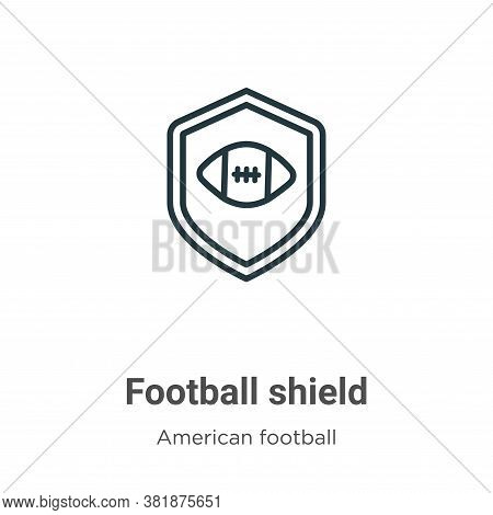 Football shield symbol icon isolated on white background from american football collection. Football