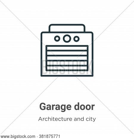 Garage door icon isolated on white background from architecture and city collection. Garage door ico