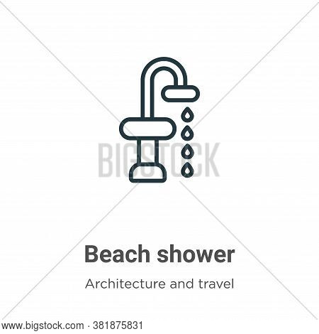 Beach shower icon isolated on white background from architecture and travel collection. Beach shower