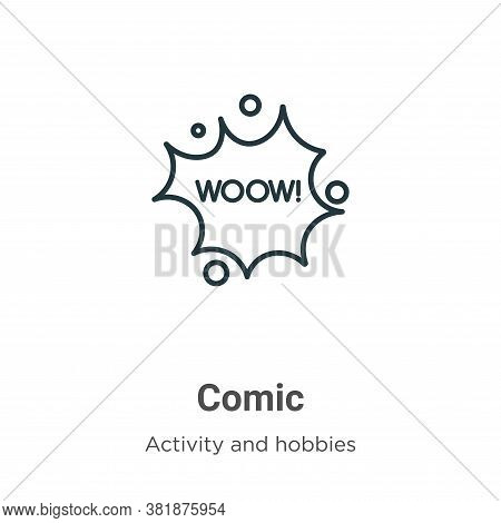Comic icon isolated on white background from activity and hobbies collection. Comic icon trendy and