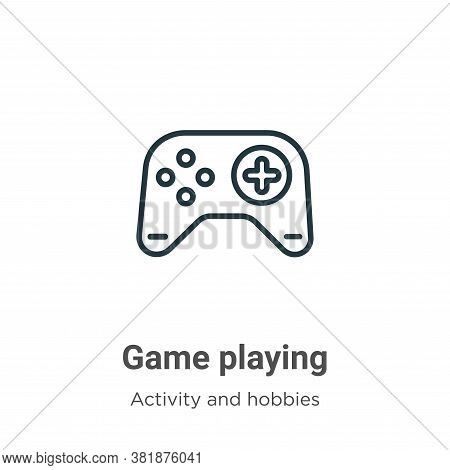 Game playing icon isolated on white background from activity and hobbies collection. Game playing ic