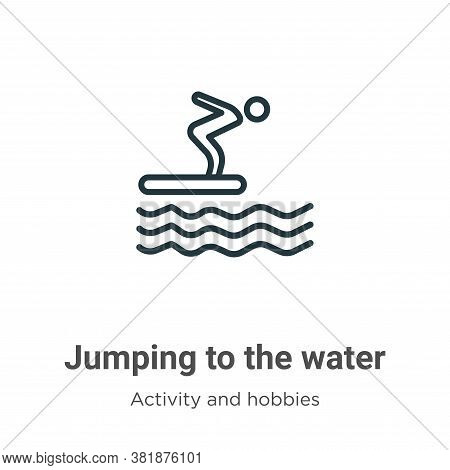 Jumping to the water icon isolated on white background from activity and hobbies collection. Jumping