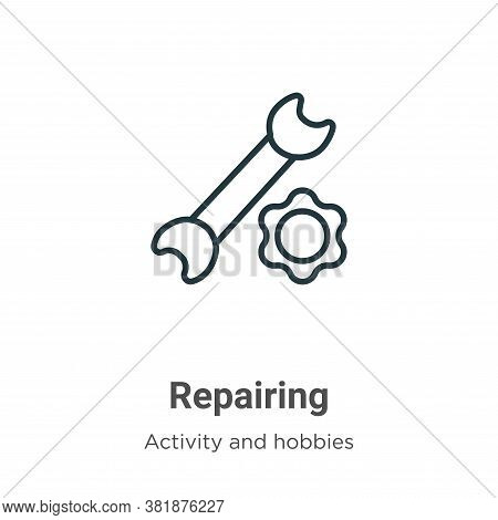 Repairing icon isolated on white background from activity and hobbies collection. Repairing icon tre
