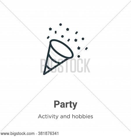 Party icon isolated on white background from activities collection. Party icon trendy and modern Par