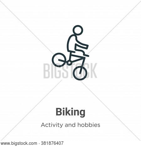 Biking icon isolated on white background from activities collection. Biking icon trendy and modern B