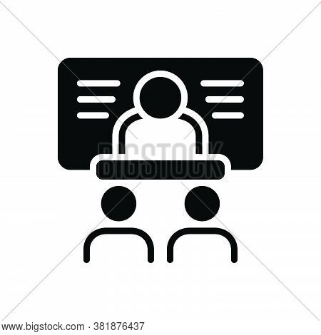 Black Solid Icon For Faculty Bureau Division Conference Academy Briefing