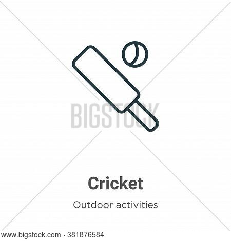 Cricket icon isolated on white background from outdoor activities collection. Cricket icon trendy an