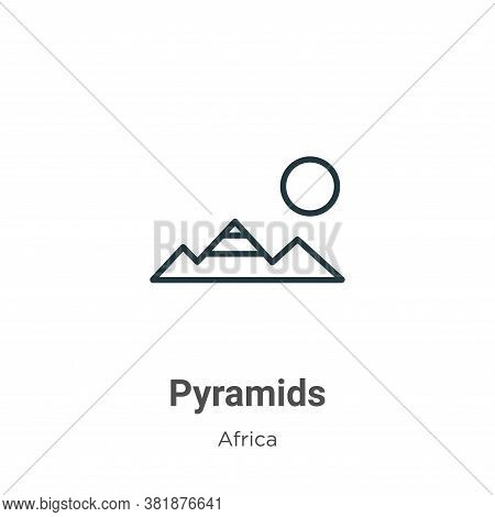 Pyramids icon isolated on white background from africa collection. Pyramids icon trendy and modern P