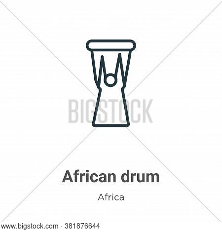 African drum icon isolated on white background from africa collection. African drum icon trendy and