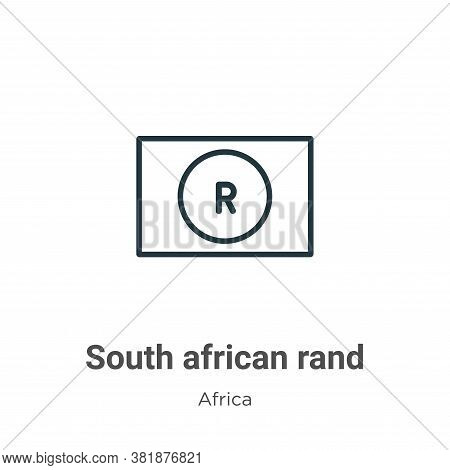 South african rand icon isolated on white background from africa collection. South african rand icon