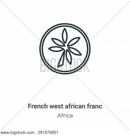 French west african franc icon isolated on white background from africa collection. French west afri