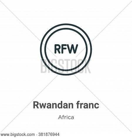 Rwandan franc icon isolated on white background from africa collection. Rwandan franc icon trendy an