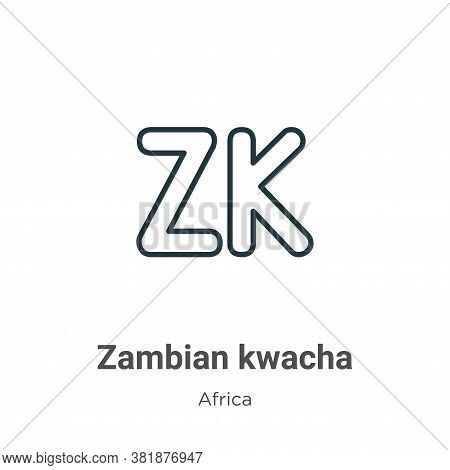 Zambian kwacha icon isolated on white background from africa collection. Zambian kwacha icon trendy