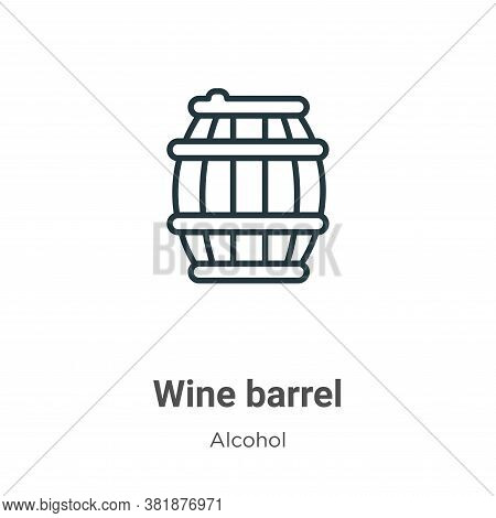 Wine barrel icon isolated on white background from alcohol collection. Wine barrel icon trendy and m