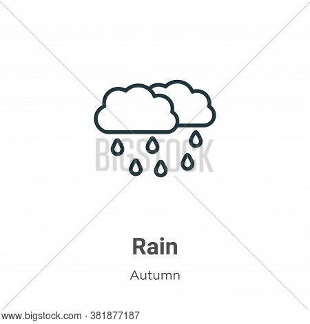Rain icon isolated on white background from autumn collection. Rain icon trendy and modern Rain symb