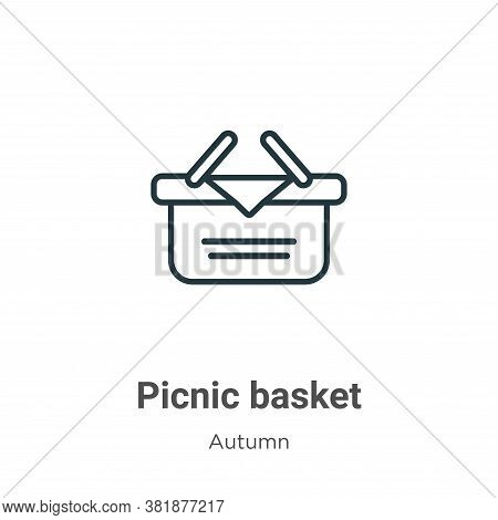 Picnic basket icon isolated on white background from autumn collection. Picnic basket icon trendy an
