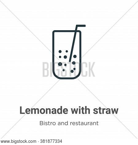 Lemonade with straw icon isolated on white background from bistro and restaurant collection. Lemonad