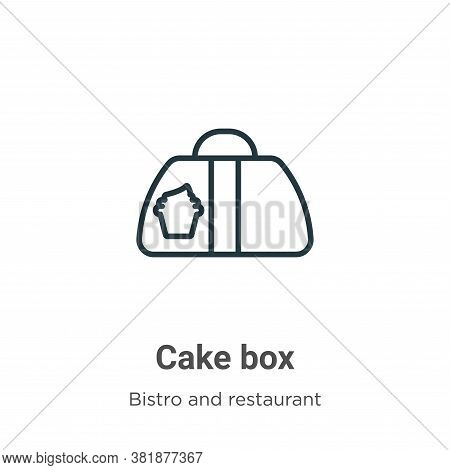 Cake box icon isolated on white background from bistro and restaurant collection. Cake box icon tren