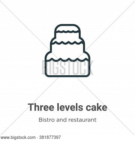 Three levels cake icon isolated on white background from bistro and restaurant collection. Three lev