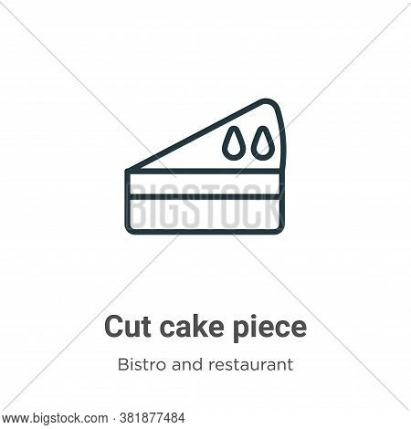 Cut cake piece icon isolated on white background from bistro and restaurant collection. Cut cake pie