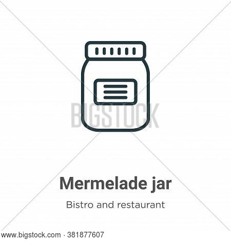 Mermelade jar icon isolated on white background from bistro and restaurant collection. Mermelade jar