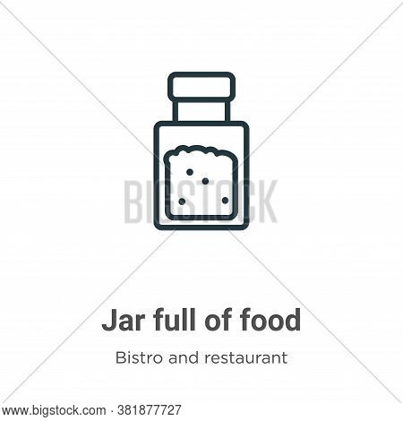 Jar full of food icon isolated on white background from bistro and restaurant collection. Jar full o