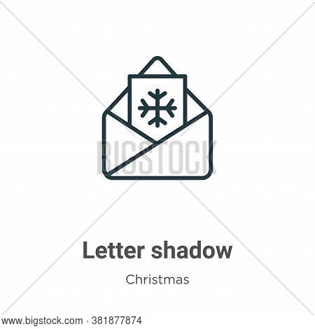 Letter shadow icon isolated on white background from christmas collection. Letter shadow icon trendy