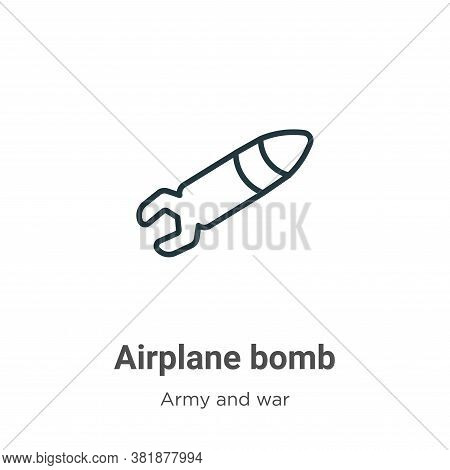 Airplane bomb icon isolated on white background from army and war collection. Airplane bomb icon tre