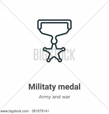 Militaty medal icon isolated on white background from army and war collection. Militaty medal icon t